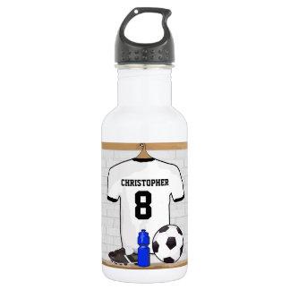 Jersey de fútbol negro blanco personalizado del botella de agua de acero inoxidable