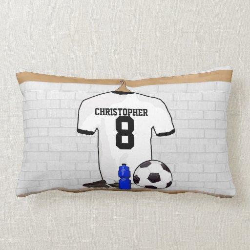 Jersey de fútbol negro blanco personalizado del cojín