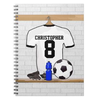 Jersey de fútbol negro blanco personalizado del libreta