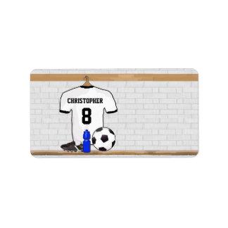 Jersey de fútbol negro blanco personalizado del etiqueta de dirección