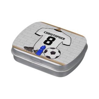Jersey de fútbol negro blanco personalizado del frascos de caramelos