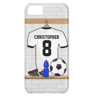 Jersey de fútbol negro blanco personalizado del funda para iPhone 5C