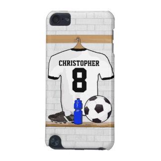 Jersey de fútbol negro blanco personalizado del funda para iPod touch 5G