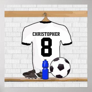 Jersey de fútbol negro blanco personalizado del póster