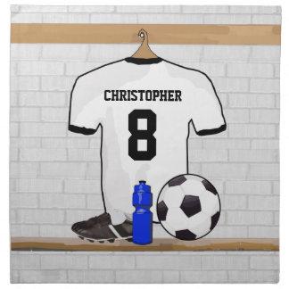 Jersey de fútbol negro blanco personalizado del servilleta