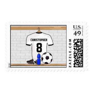Jersey de fútbol negro blanco personalizado del timbres postales