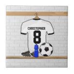 Jersey de fútbol negro personalizado del fútbol de teja  ceramica
