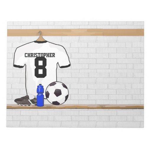 Jersey de fútbol negro personalizado del fútbol de blocs de notas