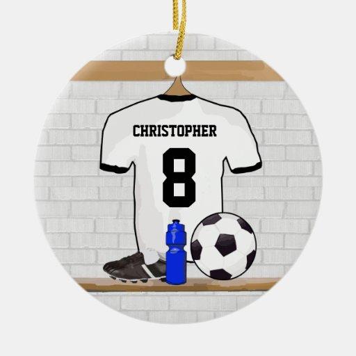 Jersey de fútbol negro personalizado del fútbol de ornamento de reyes magos