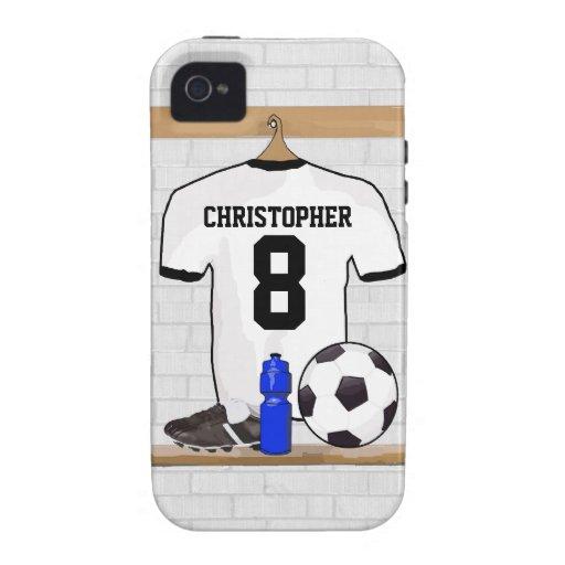 Jersey de fútbol negro personalizado del fútbol de iPhone 4/4S carcasas