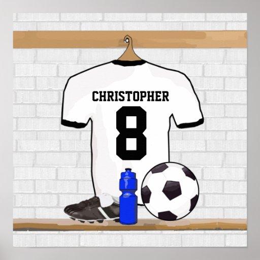 Jersey de fútbol negro personalizado del fútbol de posters