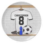 Jersey de fútbol negro personalizado del fútbol de platos