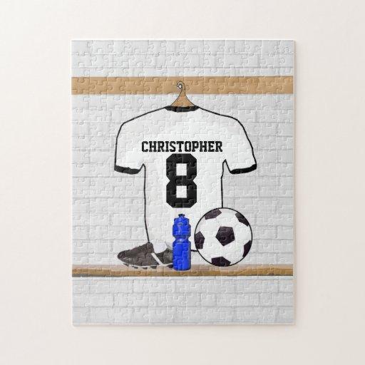 Jersey de fútbol negro personalizado del fútbol de rompecabeza con fotos