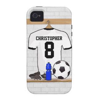Jersey de fútbol negro personalizado del fútbol iPhone 4/4S carcasas