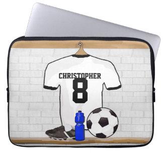 Jersey de fútbol negro personalizado del fútbol fundas portátiles