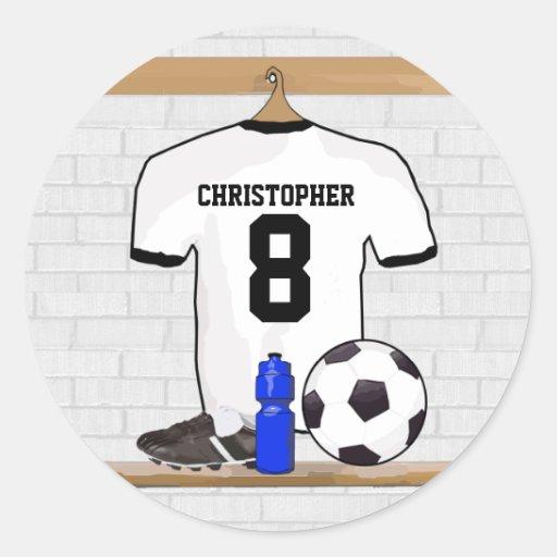 Jersey de fútbol negro personalizado del fútbol pegatina redonda