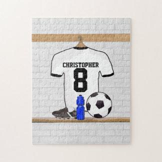 Jersey de fútbol negro personalizado del fútbol rompecabeza con fotos