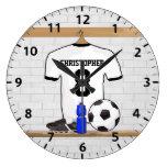 Jersey de fútbol negro personalizado del fútbol reloj