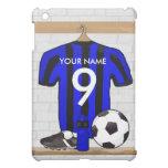 Jersey de fútbol negro y azul personalizado del