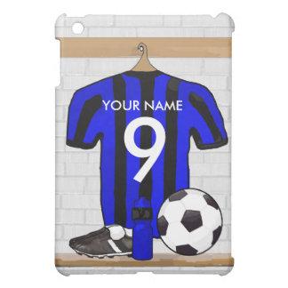 Jersey de fútbol negro y azul personalizado del fú