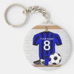 Jersey de fútbol negro y azul personalizado del fú llaveros