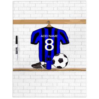 Jersey de fútbol negro y azul personalizado del fú pizarras blancas