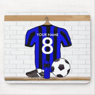 Jersey de fútbol negro y azul personalizado del fú alfombrilla de ratones