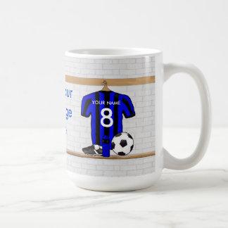 Jersey de fútbol negro y azul personalizado del fú taza