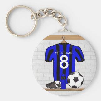 Jersey de fútbol negro y azul personalizado del llavero redondo tipo pin