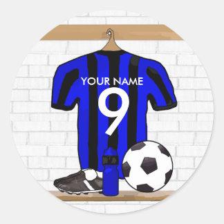 Jersey de fútbol negro y azul personalizado del pegatina redonda