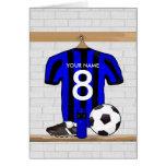 Jersey de fútbol negro y azul personalizado del tarjetas