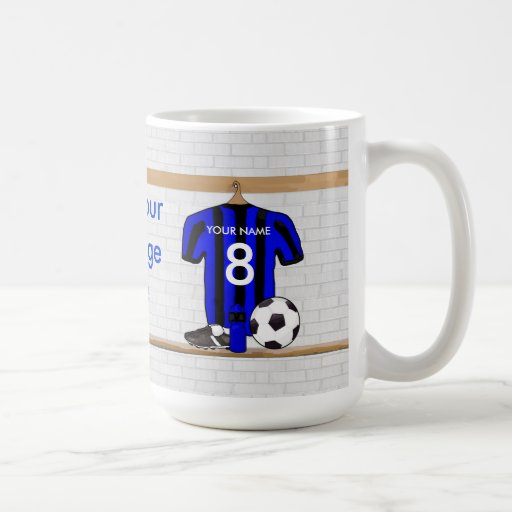 Jersey de fútbol negro y azul personalizado del taza de café