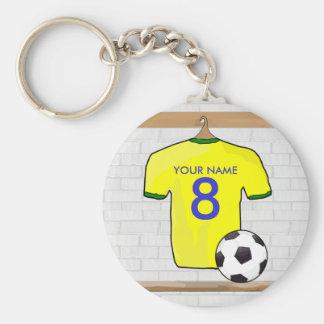 Jersey de fútbol personalizado del fútbol del llavero redondo tipo pin