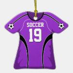 Jersey de fútbol púrpura y negro #19 ornamento de navidad