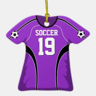 Jersey de fútbol púrpura y negro #19 adorno de cerámica en forma de camiseta