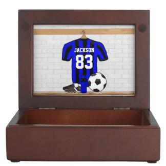 Jersey de fútbol rayado azul y negro personalizado cajas de recuerdos