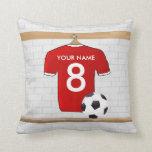 Jersey de fútbol rojo personalizado almohada