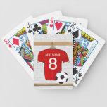 Jersey de fútbol rojo personalizado barajas de cartas