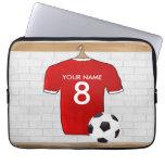 Jersey de fútbol rojo personalizado fundas computadoras