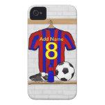 Jersey de fútbol rojo y azul personalizado del Case-Mate iPhone 4 fundas