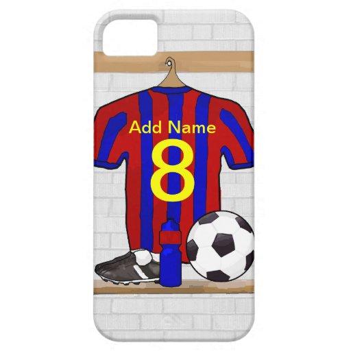 Jersey de fútbol rojo y azul personalizado del iPhone 5 Case-Mate cobertura