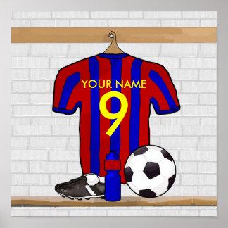Jersey de fútbol rojo y azul personalizado del impresiones