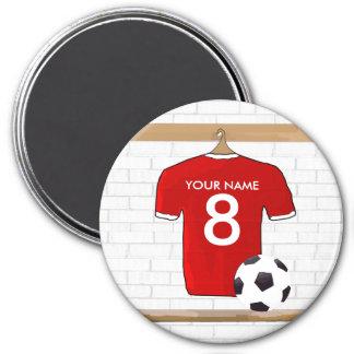 Jersey de fútbol rojo y blanco personalizado del imán redondo 7 cm