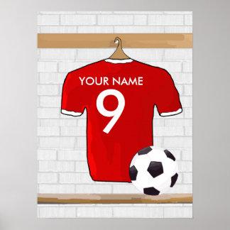 Jersey de fútbol rojo y blanco personalizado del póster
