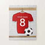 Jersey de fútbol rojo y blanco personalizado del rompecabeza con fotos