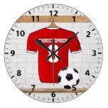 Jersey de fútbol rojo y blanco personalizado del reloj redondo grande
