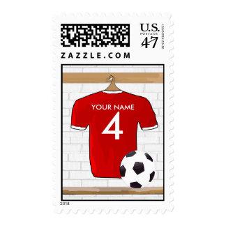 Jersey de fútbol rojo y blanco personalizado del sellos