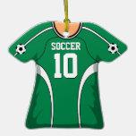 Jersey de fútbol verde/blanco personalizado 10 V1 Ornamento De Navidad