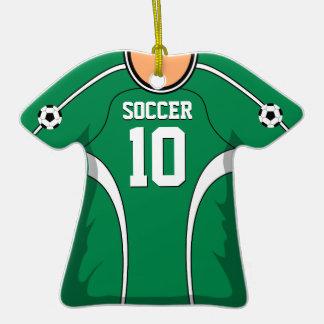 Jersey de fútbol verde blanco personalizado 10 V1 Ornamento De Navidad
