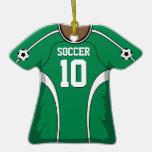 Jersey de fútbol verde/blanco personalizado 10 V2 Ornamento De Navidad